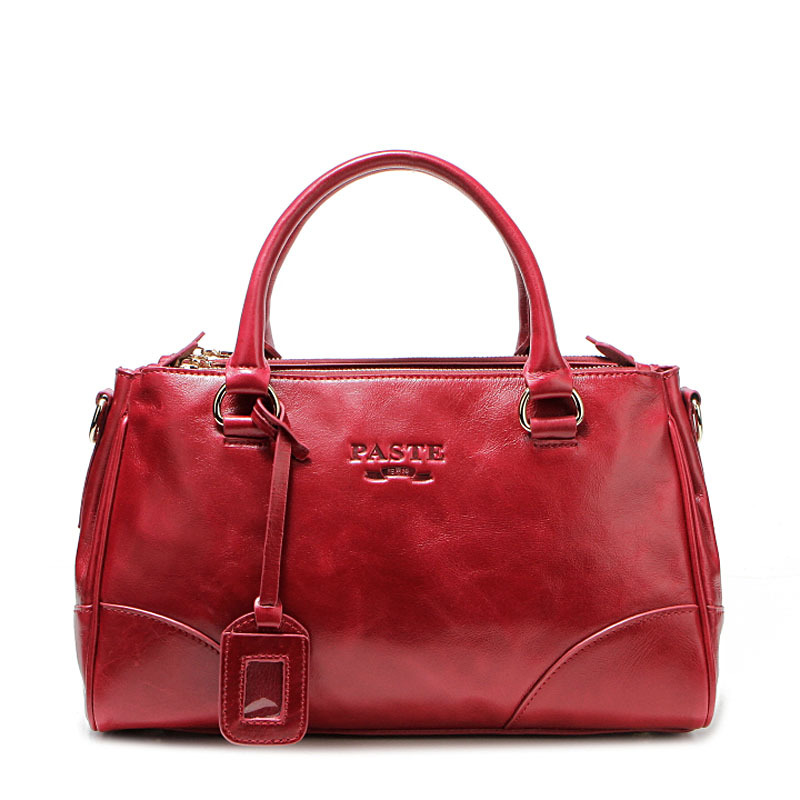 PASTE Fashion Genuine Leather Handbag Oil Wax Cowhide large capacity Tote Bag Women Shoulder Crossbody Messenger Bag boston bags yasicaidi fashion women leather handbags large capacity tote bag black oil leather shoulder bag crossbody bags for women handbag
