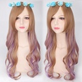 european and american fashion for women female lolita harajuku style 75cm long curly wavy cosplay wig Brown Purple Gradient
