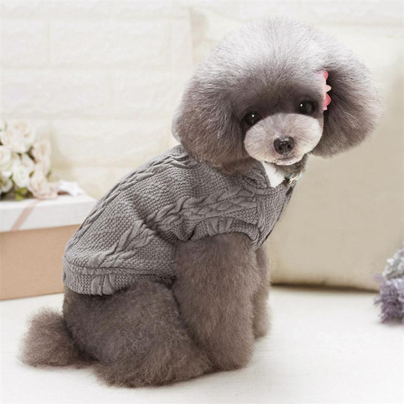Winter Thick Pet dog Sweater Coat Knitting Weave Puppy Hoodie clothes with Hat Classic Knitwear Doggy Apparel Jacket Jumper warm