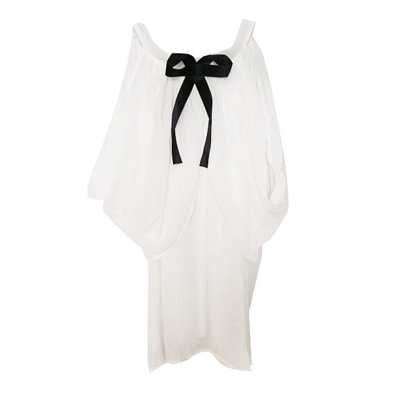 HTB14vVUKqmWBuNjy1Xaq6xCbXXaI - White Shirt Women Sexy Off Shoulder Top Slash Neck Slim Wrap See Through Chiffon Blouse