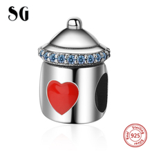 цена на SG Silver 925 beads Lovely baby's bottle charms with red heart shape Fit Original pandora bracelet DIY Jewelry making for Gifts