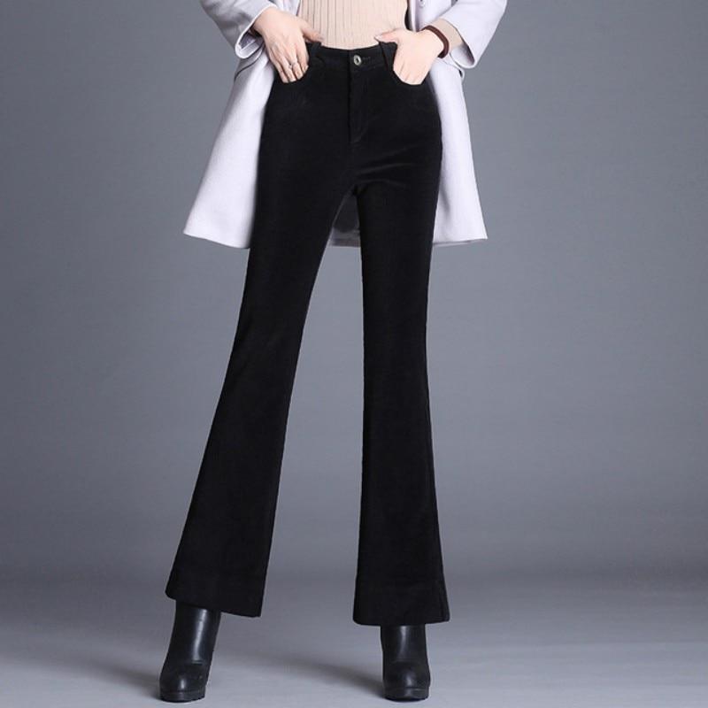 Brown Black Waist Corduroy Winter brown Elegant Female High Pants Flare Women Autumn Pant 2019 Leg Black Casual Ladies Trousers Fashion Wide qBvAH