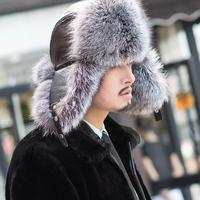 Natural Fur Hats for men New man's winter real fox fur hat warm ear protection fur bomber hats genuine leather fur hats cap