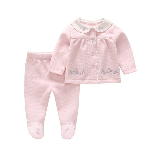 Newborn Baby Girl Clothing Set Pink Embroidery Tops+Cotton Pants Infant Princess Outfit Toddler Baby Girls Clothing Set
