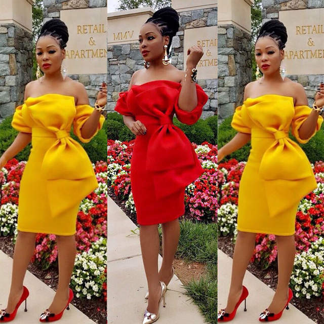 613b3a9ada06 placeholder OMILKA 2017 Autumn Women Lantern Sleeve Off the Shoulder Bow  Dress Sexy Yellow Red Half Sleeve