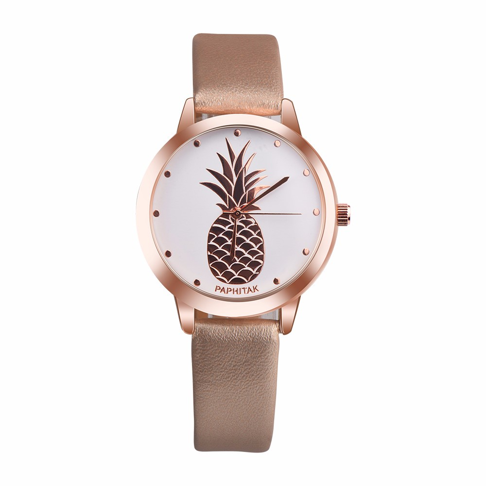 Womens Pineapple Faux Leather Analog Quartz Watch relgio feminino Special creative leather ladies watches 2019