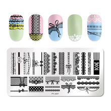 PICT YOU Rectangle Nail Striped Lace Flower Stamping Plates Stainless Steel Nail Art Design Tools Stamp Stamping Template