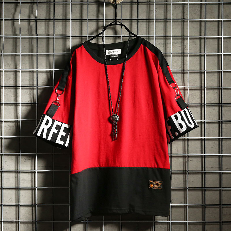Hip Hop T Shirt Harajuku Streetwear Man's T-shirt Korean Half Anime Shirt Teen Clothes Black Shirt Free gift 8