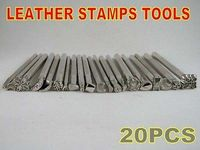 New Lot Of 20 Leather Craft Tools Basic Stamps Set Saddle Printing Marking Tool