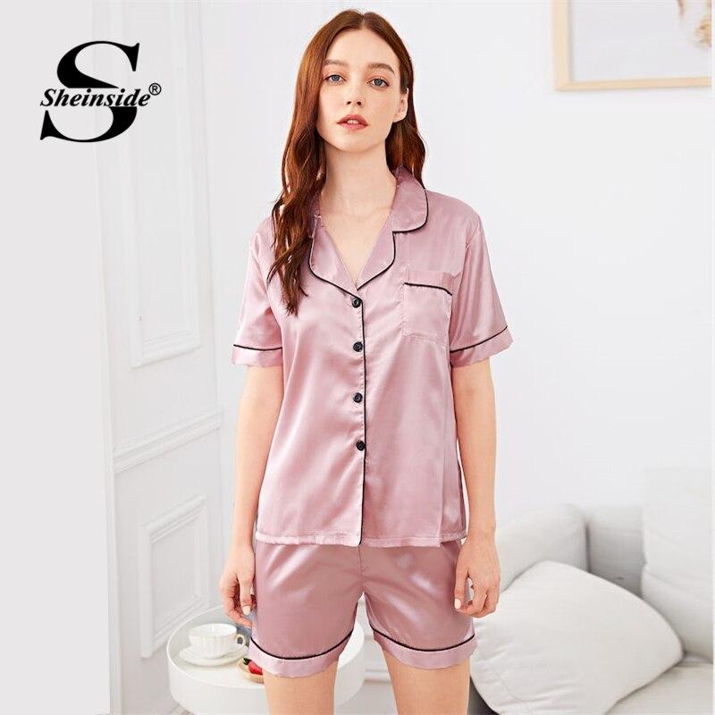 Sheinside Pink Contrast Pocket Front Shirts And Shorts Women Satin Casual   Pajama     Sets   Summer Elegant Short Sleeve Sleepwear   Set