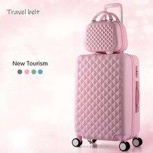 Cartoon Plaid fashion cute female 20/22/24/26/28 cala Rolling bagaż Spinner marki koła walizki Carry On Travel Bags