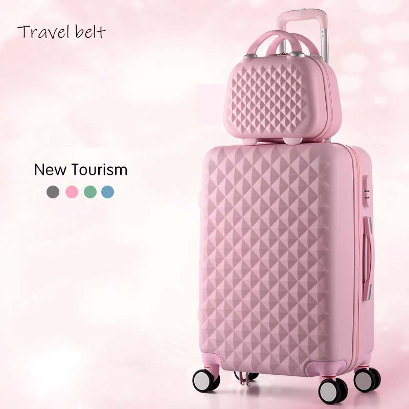 Cartoon Plaid fashion cute female 20/22/24/26/28 inch Rolling Luggage Spinner Brand Suitcase Wheels Carry On Travel Bags(China)