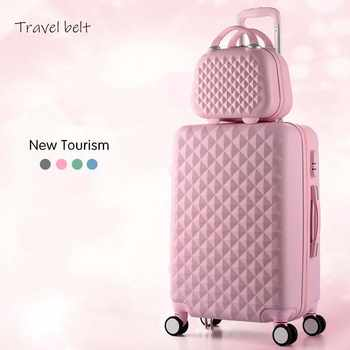 Cartoon Plaid fashion cute female 20/22/24/26/28 inch Rolling Luggage Spinner Brand Suitcase Wheels Carry On Travel Bags - DISCOUNT ITEM  44% OFF All Category