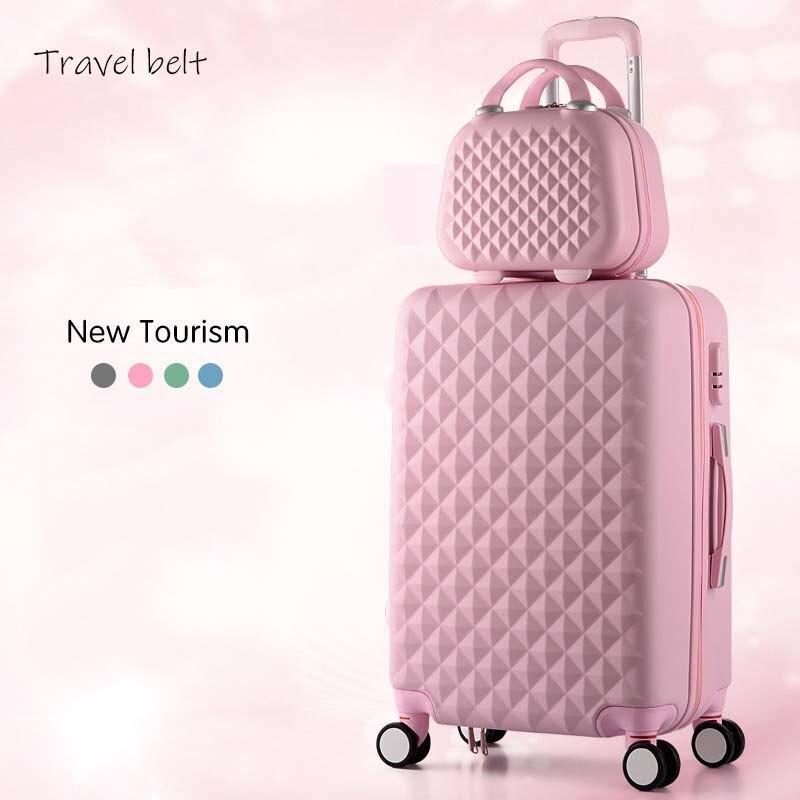 Dibujos animados a cuadros moda mujer linda 20/22/24/26/28 pulgadas equipaje rodante Spinner marca maleta ruedas llevar en bolsas de viaje