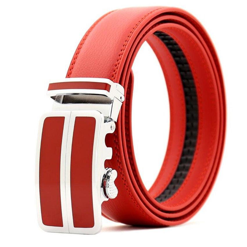 Uomini Automatico Fibbia Della Cintura Maschile Cintura Cinturino Cinghia di Cuoio Degli Uomini di Modo Degli Uomini lendth: 110-125 cm, larghezza: 3.5 centimetri rosso \ bianco \ nero \ blu