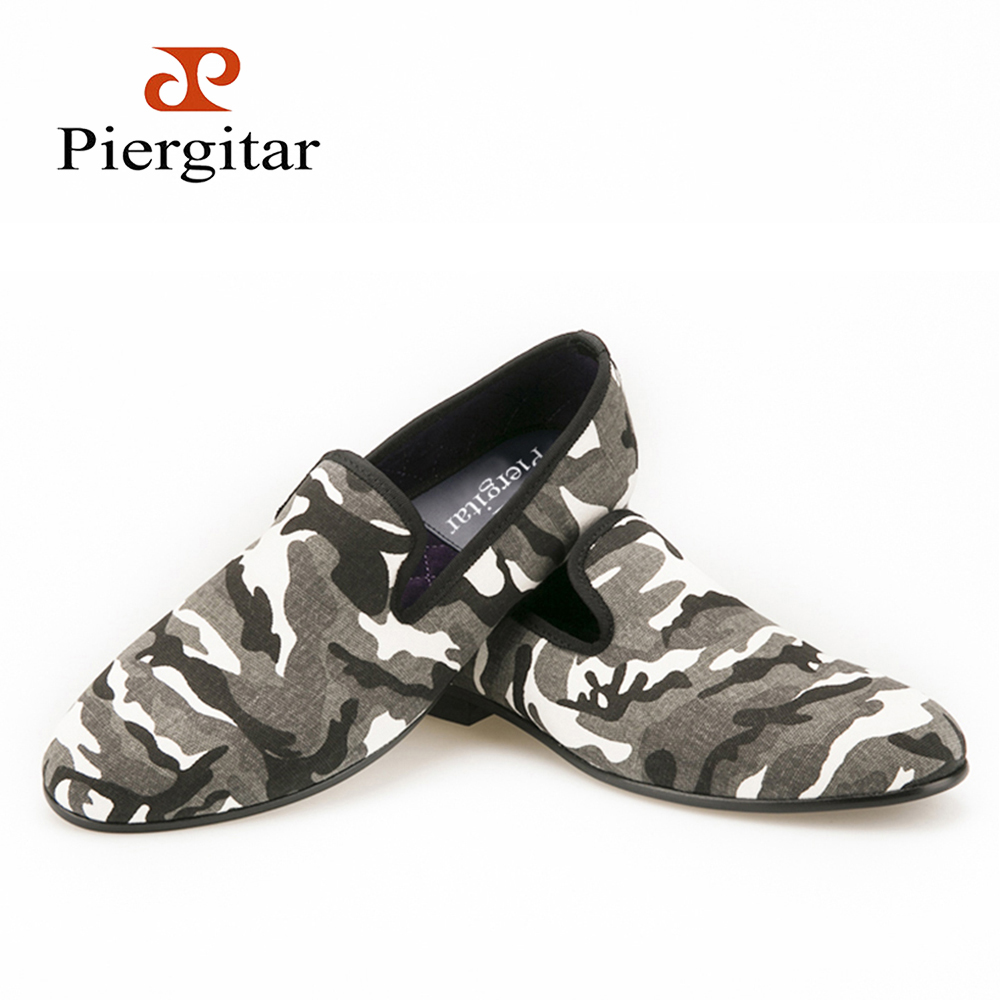 Piergitar 2016FW New Design White & Grey & Tan Camouflage Casual Men's Denim Loafer For Daily Party Prom and Banquet men's flats bow design denim espadrille flats