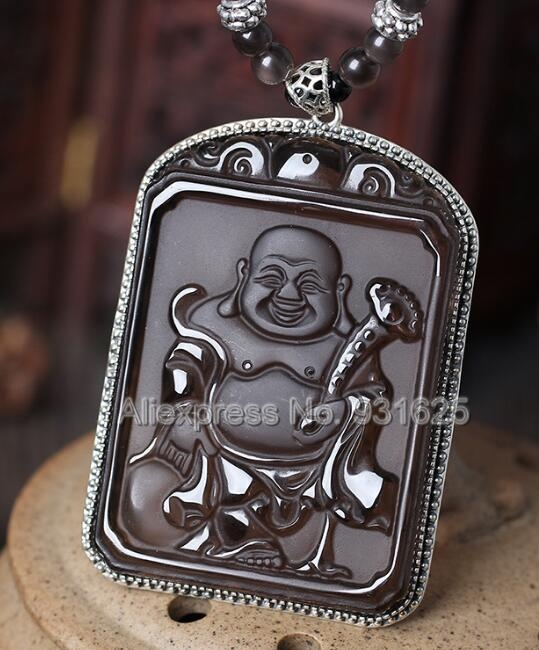 925 Sterling Silver Natural Ice Obsidian Carved Chinese Amulet RuYi Buddha Lucky Pendant + Beads Necklace Fashion Charm Jewelry