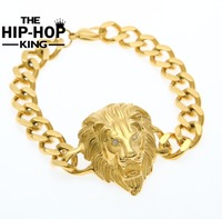 Hip Hop Cuba Liên Kết Bracelet Tiger Eye Sư Tử Vàng Màu Thép Không Gỉ Animal Lion King Vòng Đeo Vòng Đeo Tay