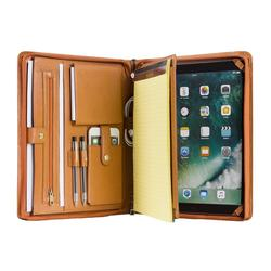 Handgemaakte echt leder Portfolio A4 Folder Document Organizer, personaliseer Business Travel Padfolio Portfolio Case - Bruin