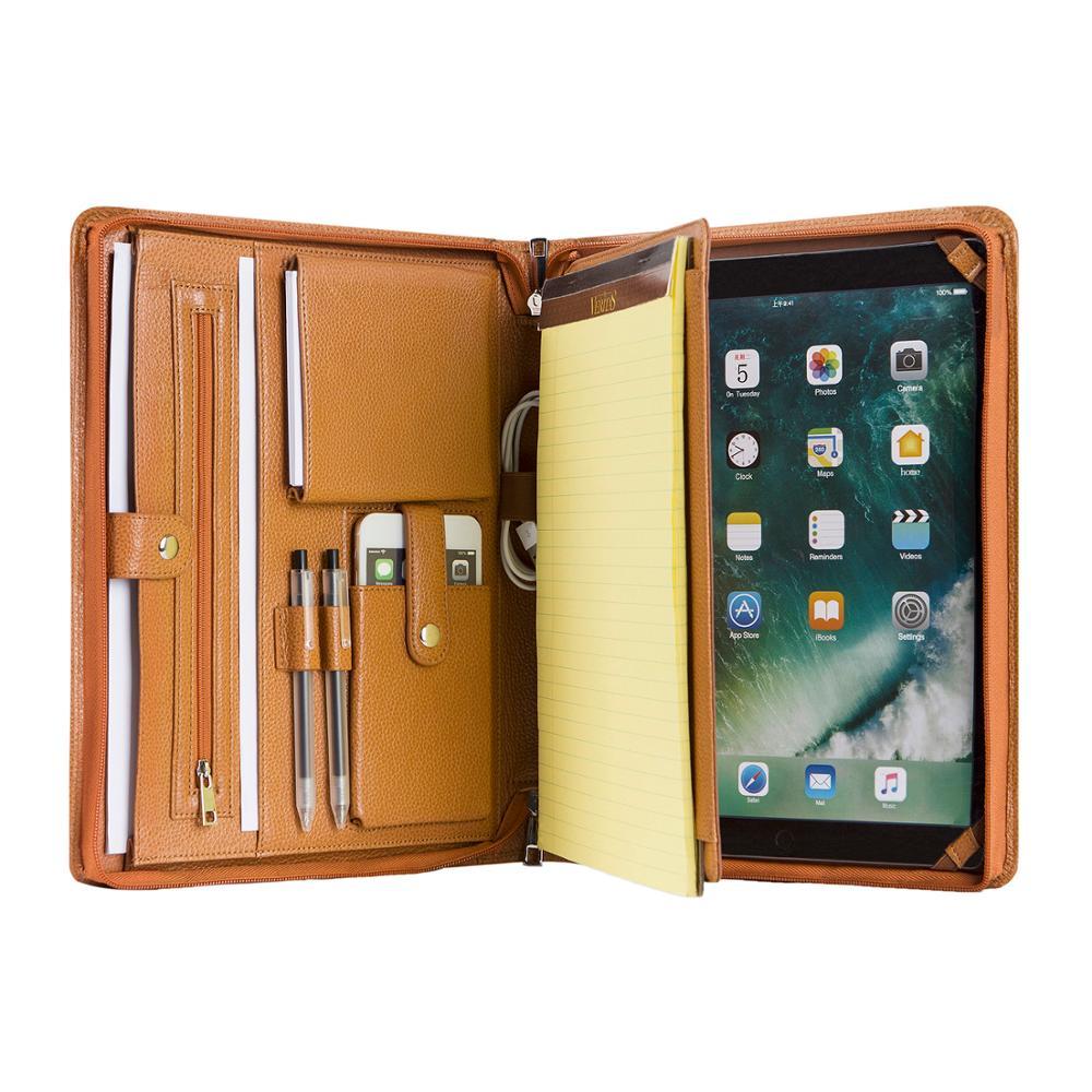 Handmade Genuine Leather Portfolio A4 Folder Document Organizer, Personalise Business Travel Padfolio Portfolio Case - Brown