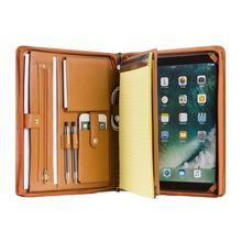 Handmade Genuine Leather Portfolio A4 Folder Document Organizer, Personalise Business Travel Padfolio Case - Brown