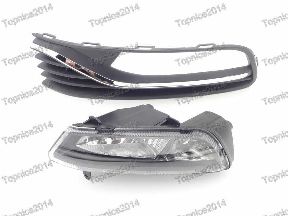 Left Side Front Bumper Fog Light & Fog Lamp Cover Set For Volkswagen Polo 2014-2016 Hatchback 1 set left side driving lamp front fog light and fog lamp cover bezel assembly for mazda cx 5 2013 2015