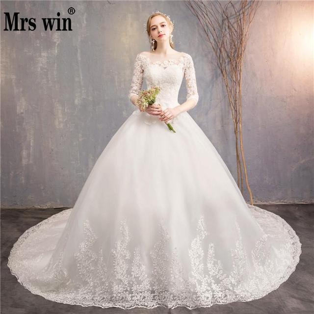 Robe De Mariee Grande Taille 2019 New The Half Sleeve Ball Gown Luxury Lace Embroidery Wedding Dress Noble Vestido De Novias F