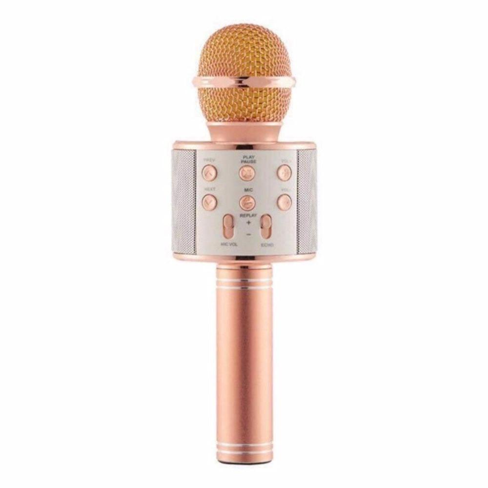 Microphone WS-858 Wireless Bluetooth Karaoke Handheld USB KTV Player Bluetooth Mic Speaker Record Music Rose Gold