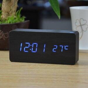 Image 3 - منبهات FiBiSonic مع ميزان الحرارة ، ساعات خشبية Led خشبية ، ساعة طاولة رقمية ، ساعات إلكترونية بتكلفة