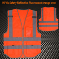 Multifunctional High visibility safety  reflective clothing safety vest fluorescent  orange hi vis vest free shipping