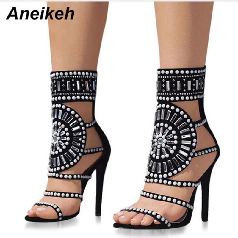 все цены на Aneikeh Summer Open Toe Rhinestone Design High Heel Sandals Crystal Ankle Wrap Diamond Gladiator Women Sandals Black Size 41 42 онлайн