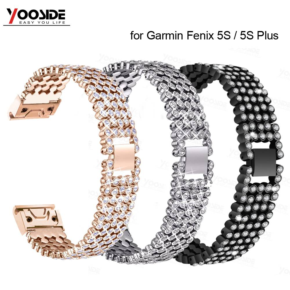 Crystal Rhinestone Bling Stainless Steel <font><b>20mm</b></font> Metal Quick Fit Watch <font><b>Band</b></font> Strap for <font><b>Garmin</b></font> Fenix 5S/5S Plus Large Small Strap image