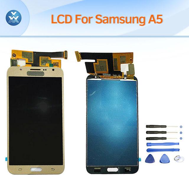 Para samsung galaxy a5 2015 a500f a5000 a500m pantalla lcd táctil digitalizador asamblea del reemplazo completo negro blanco oro