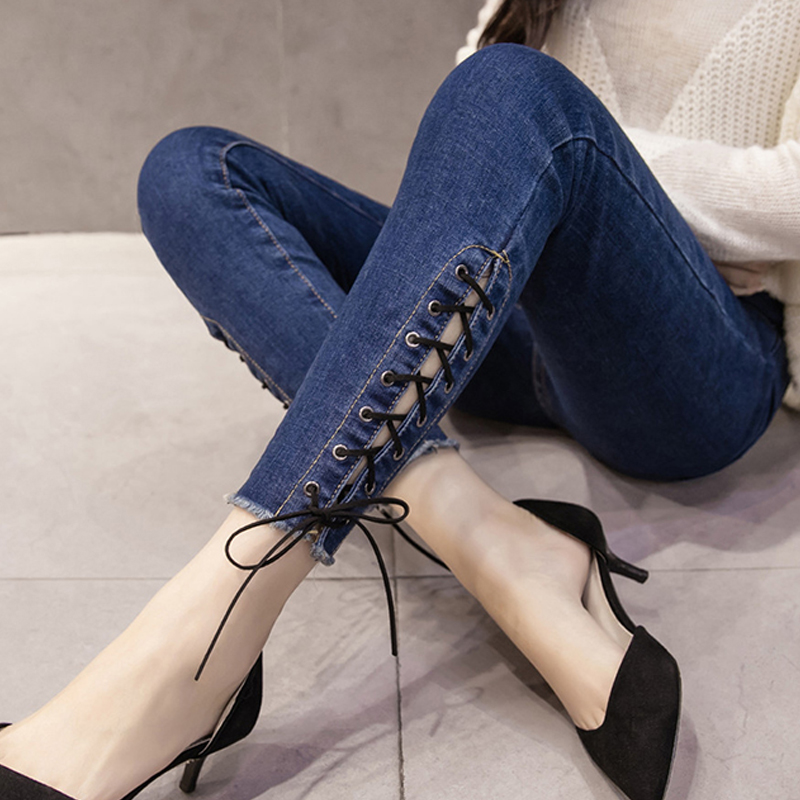 S XXL Women Jeans Spring Womens Fashion Hollow Out Cross Strap Bandage Pencil Pants Sexy 2017 Lace Up Hole Tight Ripped Jeans -in Jeans from Women's Clothing & Accessories on Aliexpress.com | Alibaba Group