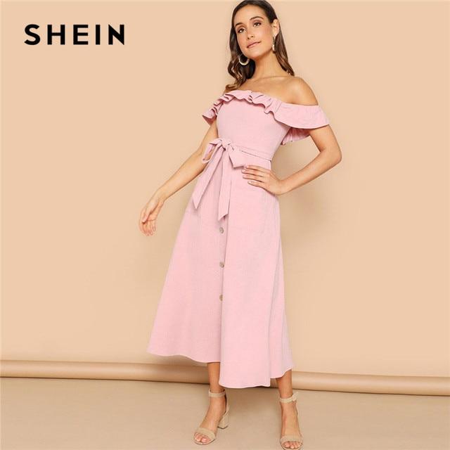 f657b9d1f8d SHEIN Pink Boho Flounce Foldover Off Shoulder Button Front Belted Maxi Dress  Women Summer Beach Casual Sleeveless Long Dress