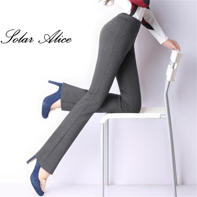 f549ffb1653c7 Free Shipping Spring and autumn women s plus size elastic flare trousers  high waist boot cut trousers