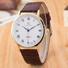 Mode Classique Rome Cadran Robe Montre-Bracelet des Hommes Homme Cuir Véritable Quartz Analogique Montre D'affaires Horloge Heures