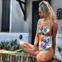 Купить с кэшбэком JSY Print Deep V swimwear women one piece swimsuit push up 2019 summer beach female swimming suit high elastic monokini Y0018
