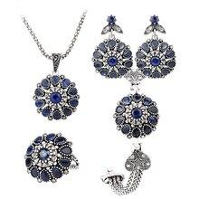 Gukin azul conjuntos de joyas de cristal 4 unids plateado redondo retro rose flor pendientes pulsera y anillo de conjuntos de collar colgante