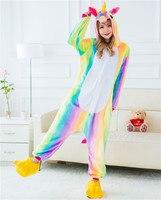 2017 Adult Winter Rainbow Stripe Unicorn Pajamas Unisex Animal Hooded Flannel Pajama Sets Cute Cartoon Unicornio