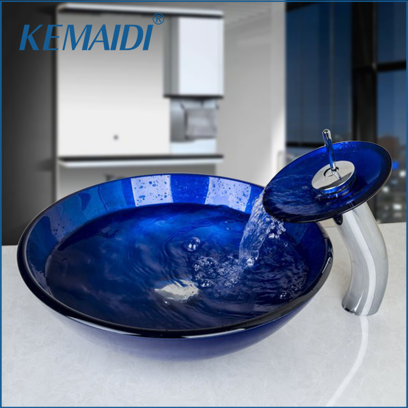KEMAIDI Hand Painted Blue Round Bathroom Sink Faucets Set Tempered Glass  Bathroom Sink And Chrome Finish Bathroom Faucet Mixer 105448809b7