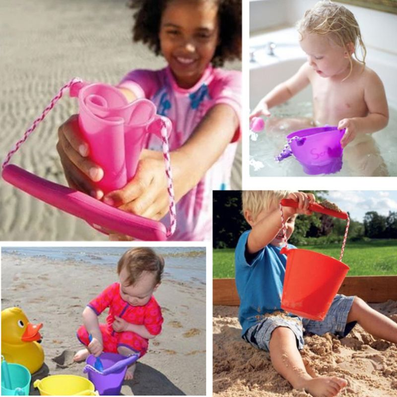 Premium New Children Baby Shower Bucket Bath Beach Toy Folding Handheld Silicone Barrel Pouring Water Sand Kids Gift in Bath Toy from Toys Hobbies