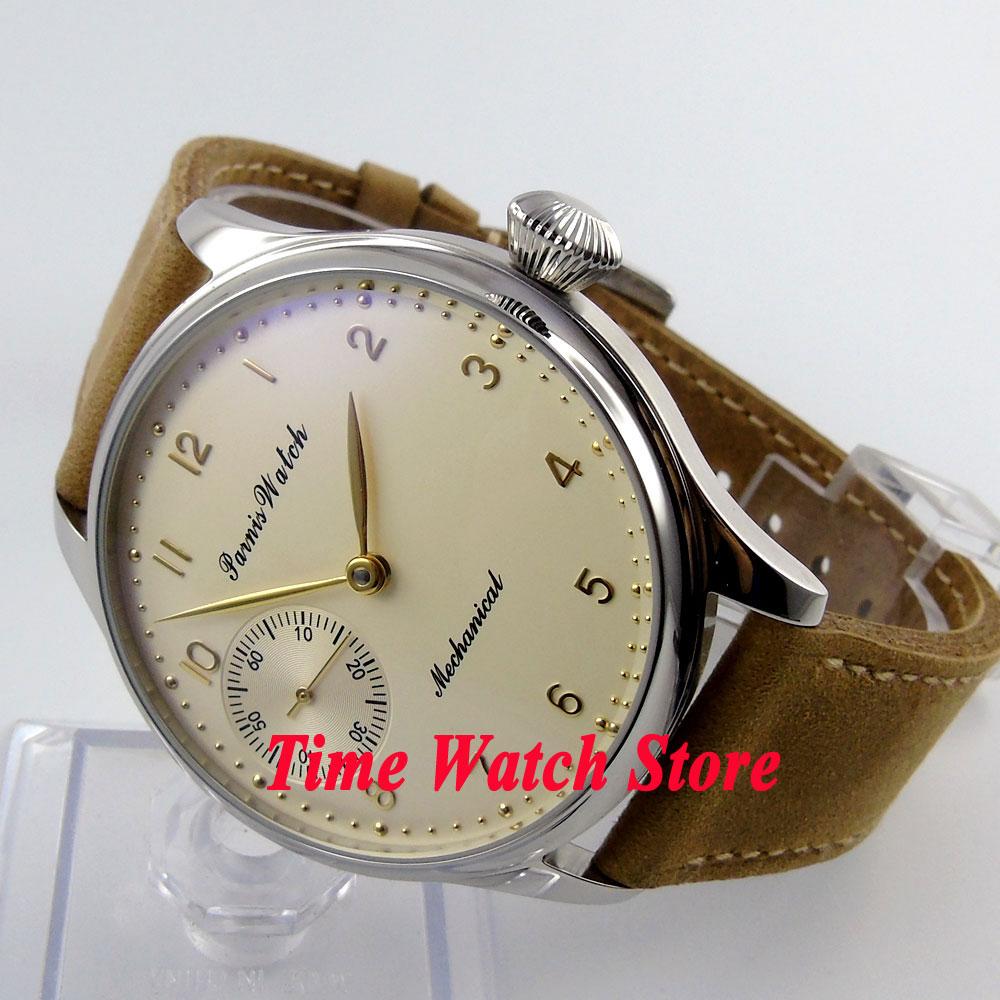 лучшая цена Parnis 44mm Beige Dial GOLD hands&marks khaki leather strap 17 jewels hand winding 6497 movement men's watch 396