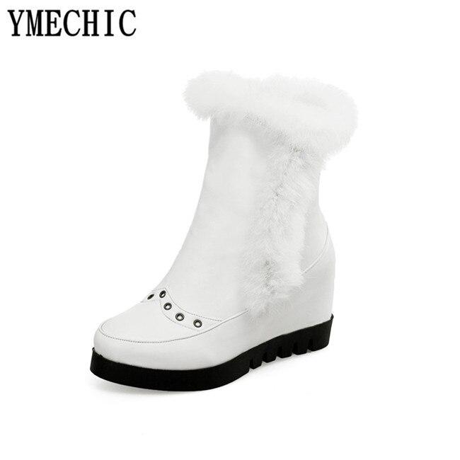 Bottes Blanc Gland Hiver Neige Compensées Chaussures Fermeture Cheville 2018 Hauteur Croissante Noir De Taille Éclair forme Ymechic Femmes Plate blanc Noir Fourrure Plus La eQCoWrdxB