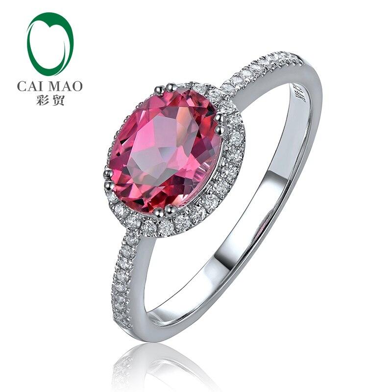 Новое Белое золото 14 к 1.29ct натуральный розовый турмалин бриллиантовое обручальное кольцо