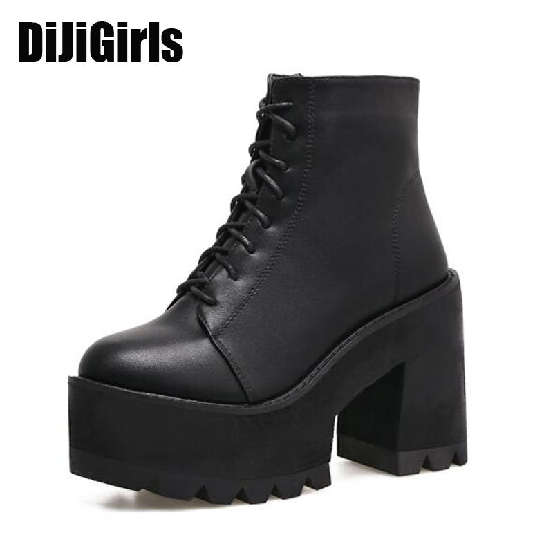 lace up Boots 2017 Fashion Thick Heel Ankle Boots Women High Heels Autumn Winter Woman Shoes black boots platform shoes X605 new spring autumn women boots black high heels thick heel boots lace up platform ankle boots large size 34 43