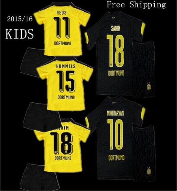 15 16 Soccer Jersey Borussia Dortmund Kids kit Aubameyang BVB Dortmund  Soccer children 2016 Dortmund Boy REUS Kids Football Kits 02ed67abb