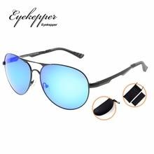 PCPG803 Eyekepper Pilot Style Polycarbonate Lens Polarized Metal Frame Spring Hinges Sunglasses