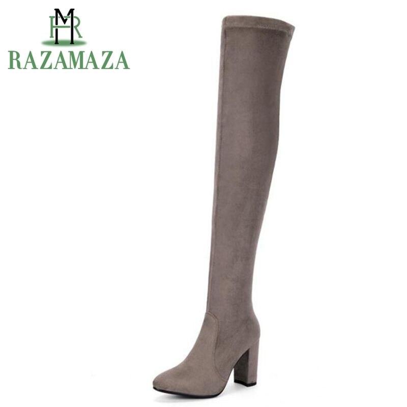 776a1dcc Zapatos elásticos de Primavera de ZALAVOR mujeres de cuero Real de tacón  alto sobre la rodilla ...