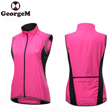 Women Outdoor Sportwear Windproof Cycling Sleeveless Vest Bicycle Jerseys Wind Coat Waterproof Bike Pink Reflective Vest
